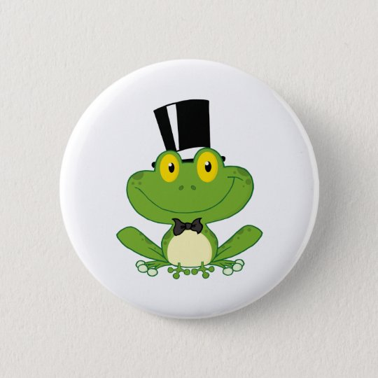 Groom Frog Cartoon Character Pinback Button