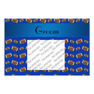 Groom gifts blue football pattern photo print