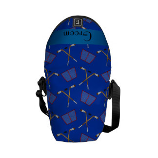 Groom gifts blue hockey pattern courier bag