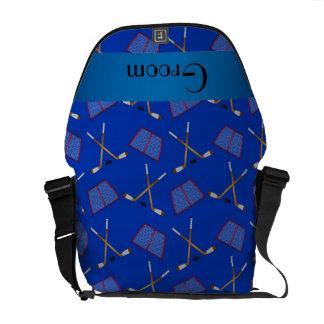 Groom gifts blue hockey pattern messenger bag