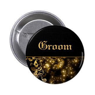 Groom gold black wedding bridal party 2 inch round button