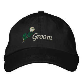 Groom Hat with White Rose Embroidered Hat