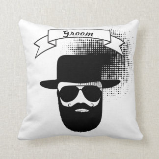 Groom Hipster Glasses Hat Handlebar Mustache Throw Pillow