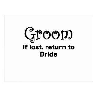 Groom If Lost Return to Bride Postcard