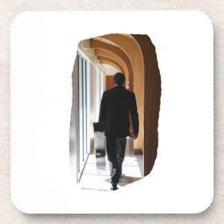 Groom in Black Suit Carrying Guitar From Back Beverage Coaster