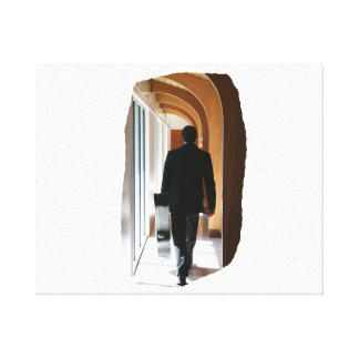 Groom in Black Suit Carrying Guitar From Back Canvas Print