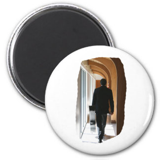 Groom in Black Suit Carrying Guitar From Back Refrigerator Magnet