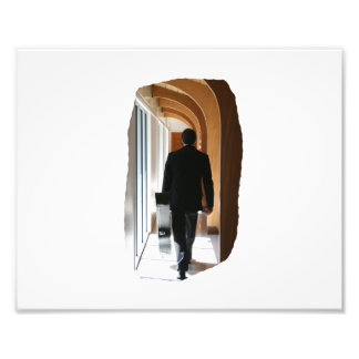 Groom in Black Suit Carrying Guitar From Back Photographic Print