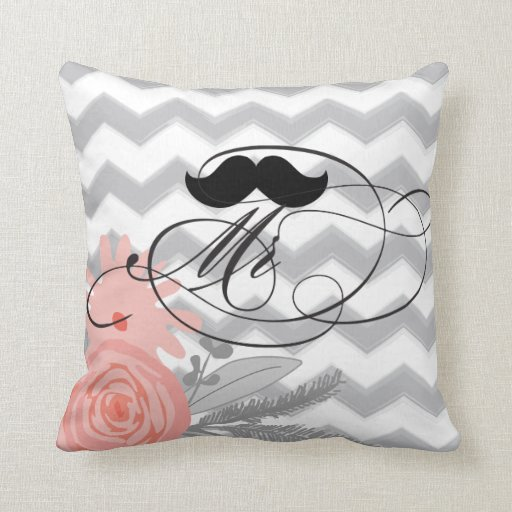 Groom Mustache Mr Coral Grey Zig Zag Floral Pillow