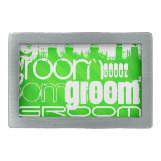 Groom; Neon Green Stripes Rectangular Belt Buckles