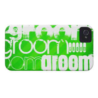 Groom; Neon Green Stripes iPhone 4 Case-Mate Cases