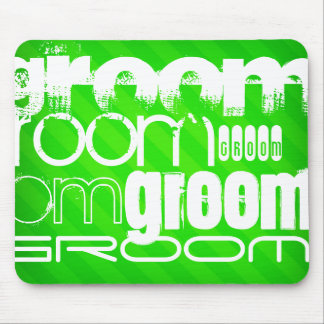 Groom; Neon Green Stripes Mouse Pad