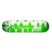 Groom; Neon Green Stripes Skateboard Deck