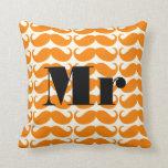 Groom Orange and Ivory Mr  Mustache Patten Pillow