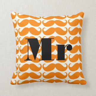 Groom Orange and Ivory Mr  Mustache Patten Throw Pillow