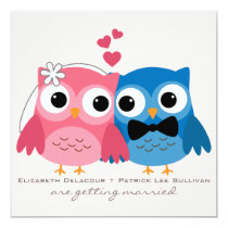 Groom Owl and Bride Owl Cute Wedding Invitation