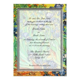"Groom parent's invitation. Vicent van Gogh, Irises 5.5"" X 7.5"" Invitation Card"