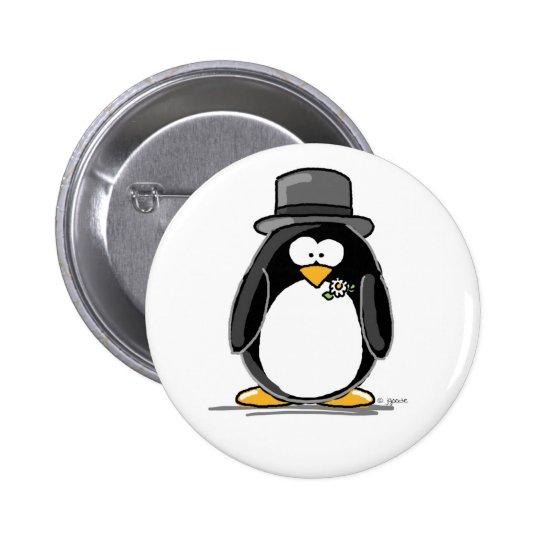 Groom Penguin Button