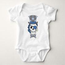 Groom Pirate Skull Blue Baby Bodysuit