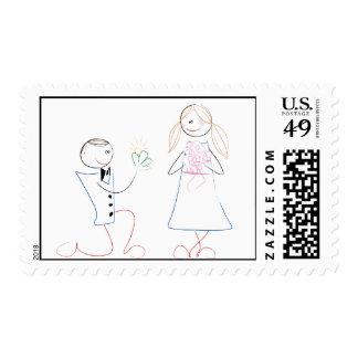 Groom Proposing to Bride Wedding Postage Stamps