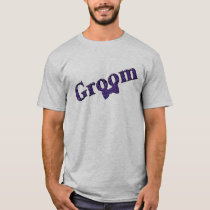Groom Purple Zebra Print Wedding Party T Shirt