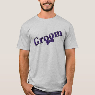 Groom Purple Zebra Print Wedding Party T Shirt