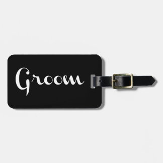Groom Retro Script White on Black Tags For Luggage