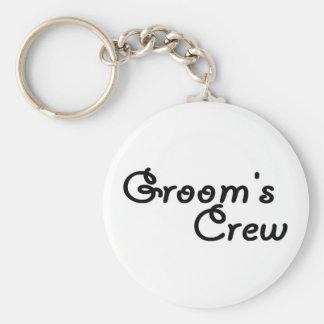 """Groom""""s Crew Basic Round Button Keychain"""