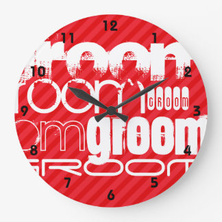Groom; Scarlet Red Stripes Clocks