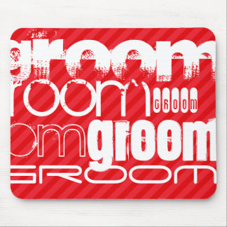 Groom; Scarlet Red Stripes Mouse Pad