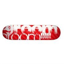Groom; Scarlet Red Stripes Skateboard Deck