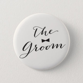 Groom Script Bow Tie Wedding Bridal Party Button