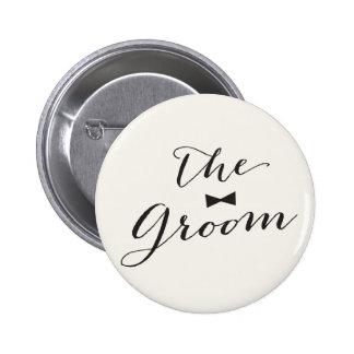 Groom Script Bow Tie Wedding Bridal Party Button