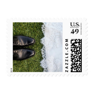 Groom Shoes and Bride's Dress Postage Stamp