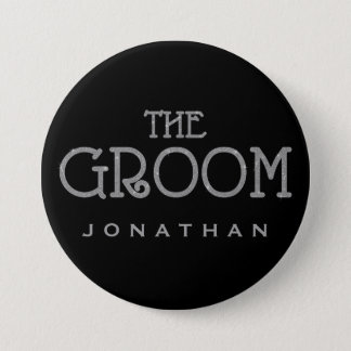 Groom Silver Faux Glitter Name Tag Button