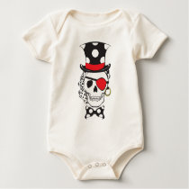 Groom Skull in Black Baby Bodysuit