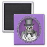 Groom Skull-Purple Magnets