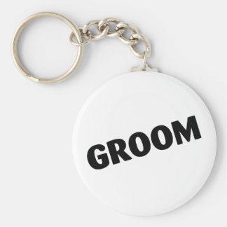 Groom Slanted Black Keychain