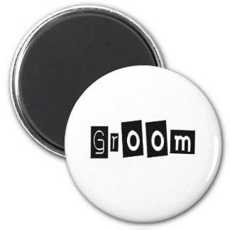 Groom (Sq Bllk) 2 Inch Round Magnet