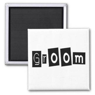 Groom (Sq Bllk) 2 Inch Square Magnet