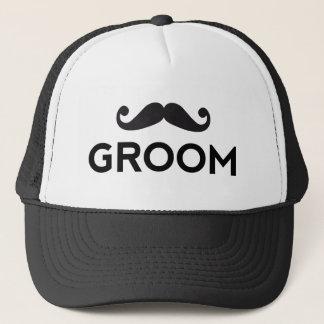 Groom text art with mustache trucker hat