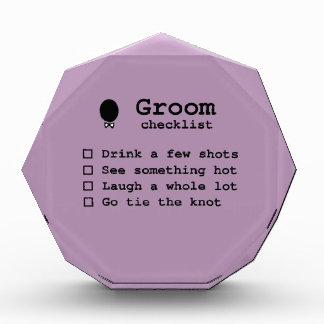 Groom to be bachlor party checklist acrylic award