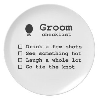 Groom to be bachlor party checklist melamine plate