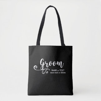 Groom Tote Bag | Cool Black White Modern Script