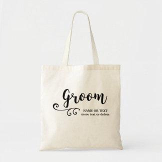 Groom Tote Bag | Cool Modern Script Typography