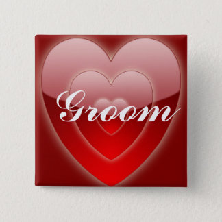 Groom - Triple Red Hearts Button