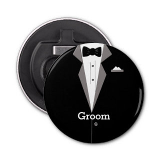 Groom Tuxedo Art Bottle Opener