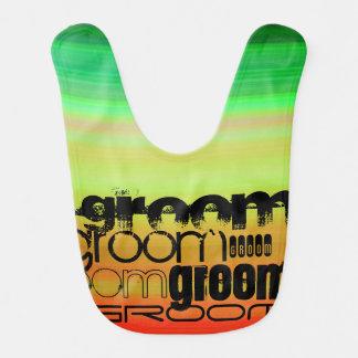 Groom; Vibrant Green, Orange, & Yellow Baby Bib