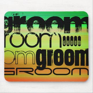 Groom; Vibrant Green, Orange, & Yellow Mouse Pad