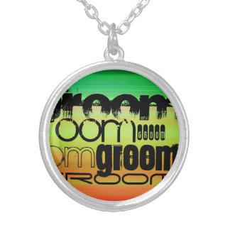 Groom; Vibrant Green, Orange, & Yellow Round Pendant Necklace